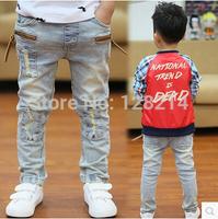 Children's Boys Jeans Denim Long Pants 2014 Spring  Autumn New Zipper Design Korean Boy Brushed Denim Trousers