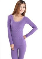 Autumn and winter modal women's seamless beauty care thermal underwear set lace o-neck basic long johns
