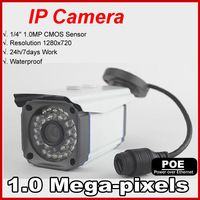 POE Power supply  IP Camera Outdoor 720P Waterproof IP66 Network 1.0MP HD CCTV Camera