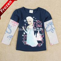 Free Shipping Nova Brand Kids Girl T shirt Frozen Long Sleeve T shirts Elsa and Anna Girls Tops Frozen T shirt Girls clothing