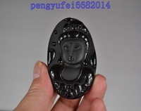 home decor 100% Natural Jade Black 100% Natural A Obsidian Carved Avalokitesvara Pendant