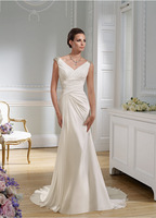 Exquisite 2015 Cap Sleeves Beaded V-Neckline Chiffon Ruched bodice With Open Back A-Line Court Train Wedding Bridal Dresses