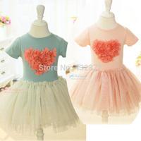 New Lovely Three-dimensional petals girl dress,children's summer dress, princess Short-sleeved dress 2 - 6 years