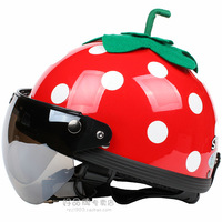 Free shipping small strawberry electric motorcycle helmet