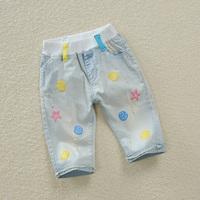 2014 children's clothing child jeans pants denim knee-length elastic pants male child light color denim capris