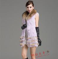 2014 new rabbit fur  vest outerwear long design fur  raccoon collar  slim vest coat
