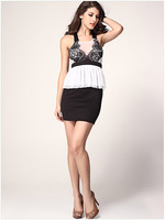 New  Features Stylish Embroidered  Lace Flouncing  Round Neck  Halter Dress Package Hip Slim  Free Shipping