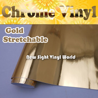 High Quality Easy Stretchability Flexible Chrome Gold Wrap Vinyl Film Car Wrap Air Free Bubble Size:1.52*20M/Roll (5ft x 65ft)