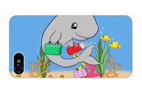 cusom print cute kawaii feeding small fish anime animal pattern 4 4S 5 5S 5G cover sleeve protectors for iphone 5 case dolphin