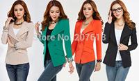 Spring 2014 New Elegant Women Clothing Shoulder Pads Slim Tunic Suit Jacket Lapel Blazers Coat Outerwear