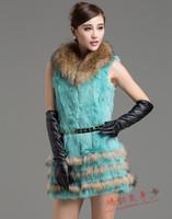 2014 new  women's rabbit fur vest  outwear  female full leather raccoon fur collar medium-long vest coat