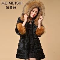 2014 new women's raccoon fur  hat medium-long   rabbit fur coat female outwear
