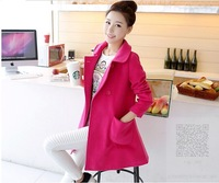2014 New Designer Fall/Winter High quality Coat Women Clothing Classic Lapel Double Pocket Longline Wool Oversized Coat