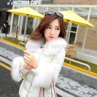 2014 Fashion doll Wool collar fashion female short velvet cotton-padded women's down jacket winter jacket  women coat, #013814