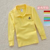 Children's clothing 2014 summer male child t-shirt child 100% cotton long-sleeve polo shirt child long-sleeve T-shirt basic