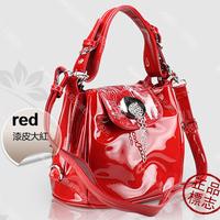 Free shipping ! 2014 New Fashion Noble Lady Pearl Shiny Double Layer Women Leather Handbag Lady Tote Handbag Messenger Bags
