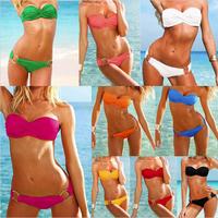 Shoulder Strapless 9 Colors Fashion Swimwear with Cup Iron Hoop Underwear Bikini Set Attractive Women Beach Bath Swimsuit