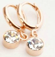 Italina Simple design women jewelry/Austria crystal 18k gold plated drop earrings WL0681