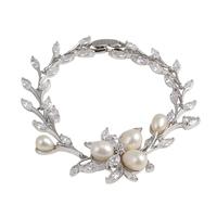 Greece Athena charm wedding bracelets 18K white gold plated Beautiful Gril's Fashion Rhinestone Pearl Bracelet Jewelry Wholesale