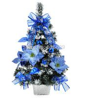 free shopping Christmas arrangement 60 * 35cm blue sticky white snowflake Christmas tree decoration