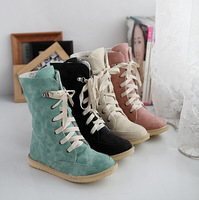 2014 size 34-43 Flats women's pu leather snow boots women's casual snow boots Free shipping plus size lady lace up fur boots