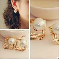New 2014 Fashion Jewelry Pearl Stud Earrings Square Shape Ethnic Style Alloy Earrings