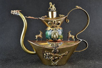Handwork Brass & Green Jade Armoured Buddha Dragon Monkey Noble Tea Pot