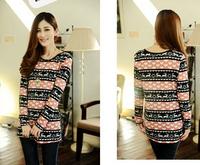 New 2014 Fashion Women T Shirt Hot Selling Christmas Printed Long Striped Rock Shirts Spring Summer Tops For Women T-shirt 233