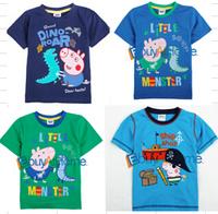 Wholesale boys t-shirt Pappe pig kid t-shirt short sleeve cartoon Children's cotton clothing free shipping