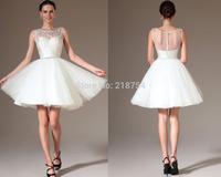 Summer Vintage Scoop A-line White Tulle Beading Mini SHort  Vestido De Noiva Curto 2014 Dresses Wedding Bridal Gowns Fashionable