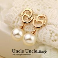 New Arrival!!! 18K Rose Gold Plated High Quality Olivet Letter D Design Elegant Lady Earrings Wholesale