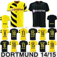 New arrival 14/15 Borussia Dortmund yellow/black REUS Gundogan KEHL HUMMELS best quality soccer jersey, Dortmund football jersey
