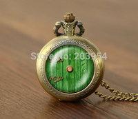 New movie hobbit door hole cozy bilbo baggins lotro quartz Pocket Watches 1pcs/lot Necklace,lord of the rings locket steampunk