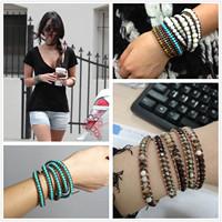 Vikiko multi-layer gem vintage crystal knitted agate bead bracelet female fashion accessories