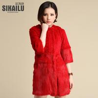 Free shipping 2014 full leather rabbit fur fox fur coat sleeve wrist-length sla3c0333