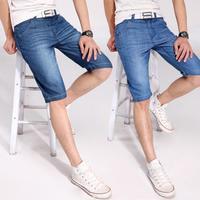 2014 New Summer Fashion Men's Short Jeans Male casual denim capris straight slim denim shorts male thin