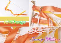 FREE SHIPPING--50pcs of Wedding 6Color lace Ribbon magic fairy Wands,Wedding Confetti Stream Ribbon Sticks decoration supplies