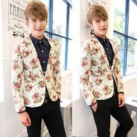 Ternos Masculino 2014 blazer men, casual slim fit men suit, mens blazer jacket three-dimensional cut slim male flower suit