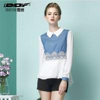 new 2014 autumn women embroidery Denim chiffon Blouses Shirt crochet camisas femininas blusas renda peplum Jeans lace blouse