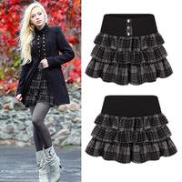 Saias Femininas 2014 New Fashion Women Elastic High Waist plaid tutu Skirt OL Ladies Tassels Pleated mini Skirt Plus Size black