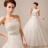 2014 Korean succinct diamond wedding dress