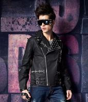Men's Jacket  black jacket coat hip-hop punk style jacket gothic rock rivet jacket clothes recommended