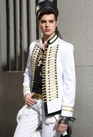 Men's Jacket blazers  men's double-breasted white suit British Royal Air suit non-mainstream male clothing