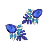 Hot Sale Blue&Clear Resin Stone Crystal Inlay Rhinestone Ear Stud Earrings WomenFree Shipping