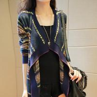 2014 autumn women's loose long-sleeve cardigan irregular national trend cape outerwear