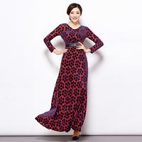 2014 autumn women's fashion sweet plus size loose black polka dot casual long-sleeve medium-long dress