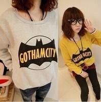 New 2014 Autumn Winter Fashion Bat Printed Thick  Hoodies Plus Size  Long Sleeved  O-neck Sweatshirt Tops girl t shirt women 821