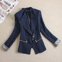 Free shipping 2014 blazer leopard print cuff oblique zipper women's slim elegant suit women's outerwear fashion jacket