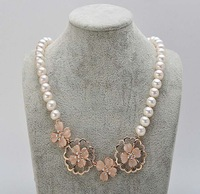 free shipping 9-10mm freshwater pearl necklace beautiful flower pendant fashion jewelry 495/