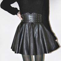 rivet puff skirt  sexy slim PU solid color bust skirt high waist leather skirt   (A2494)